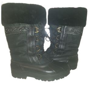 Sorel womens black fur trim lace up winter boots